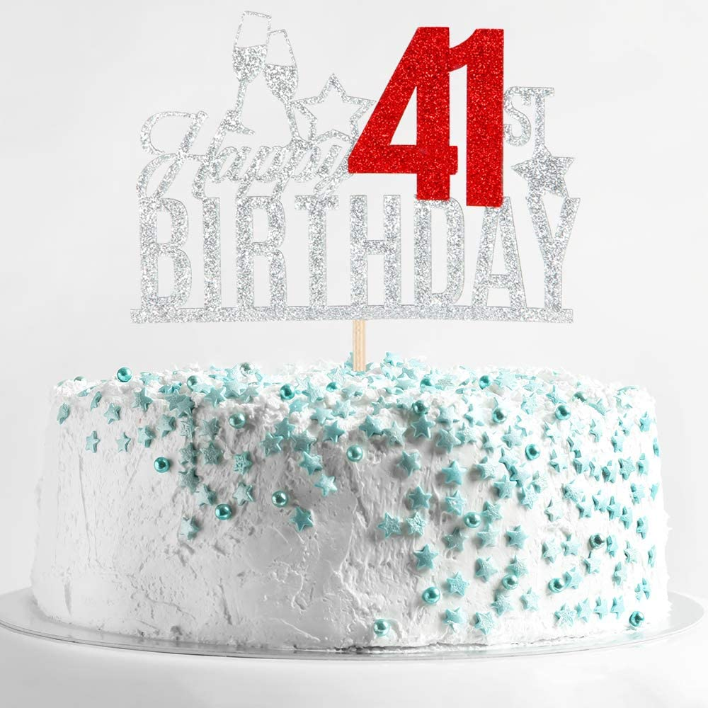 Happy 41st Birthday Cake Topper - Forty one-year-old Cake Topper, 41st Birthday Cake Decoration, 41st Birthday Party Decoration (Silver and Red)