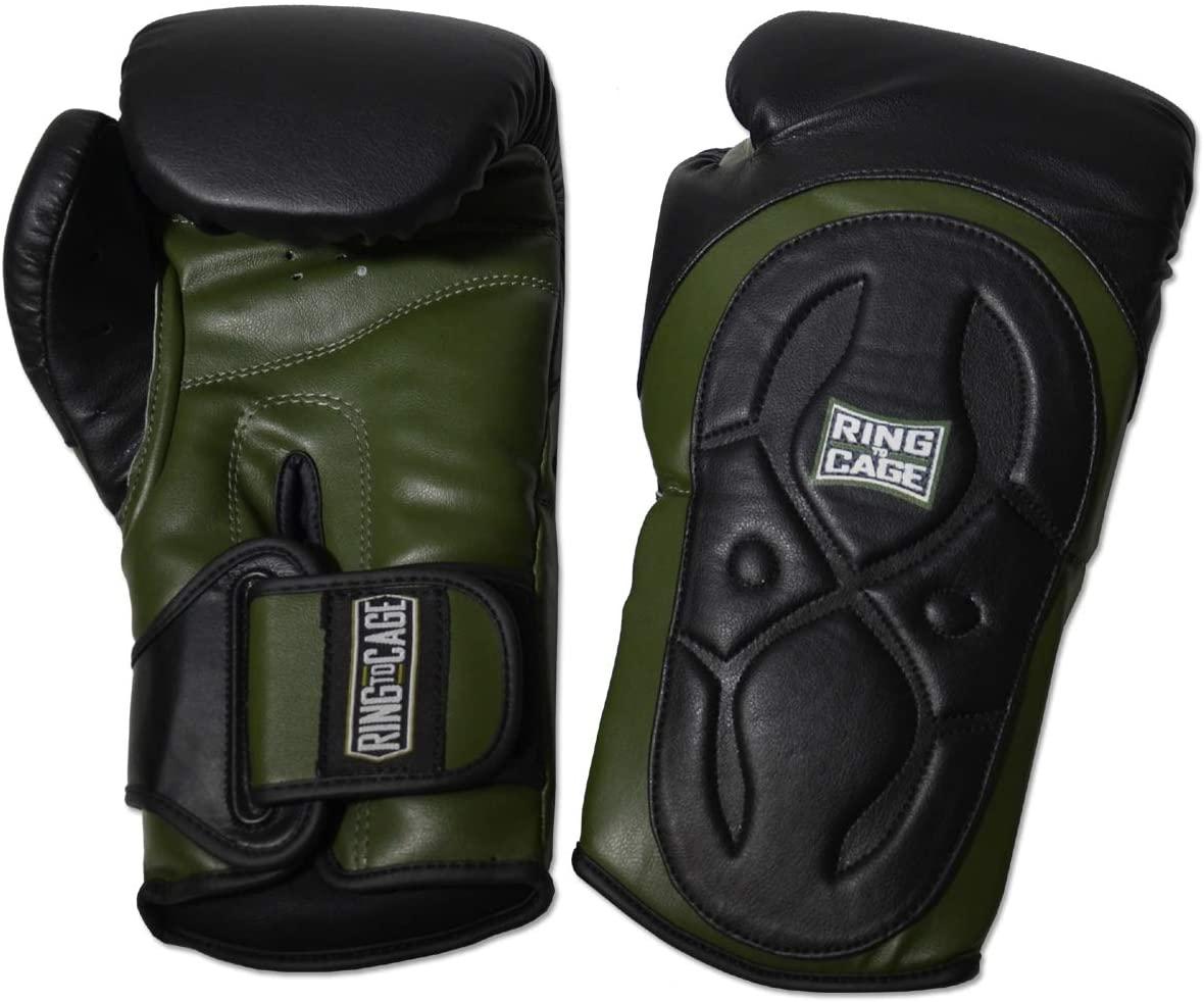 Ring to Cage Premium Muay Thai-Style Training Boxing Gloves - Marine Green/Black - 16oz