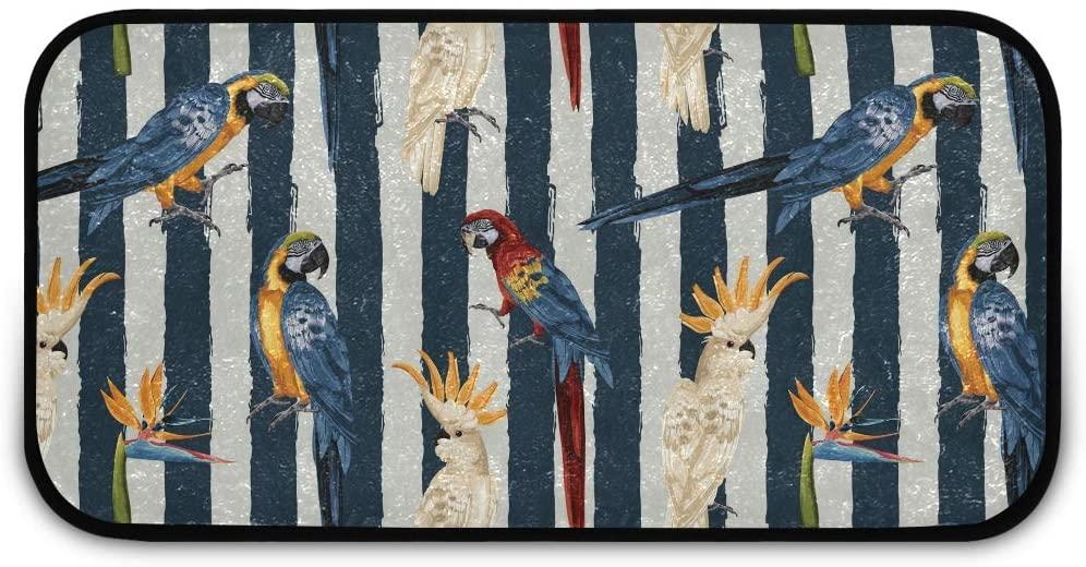 Rectangle Shaggy Rug Rugs Kitchen for Kids Tropical Birds Bathroom Anti-Slip Rug Rectangle Carpet Play Mat