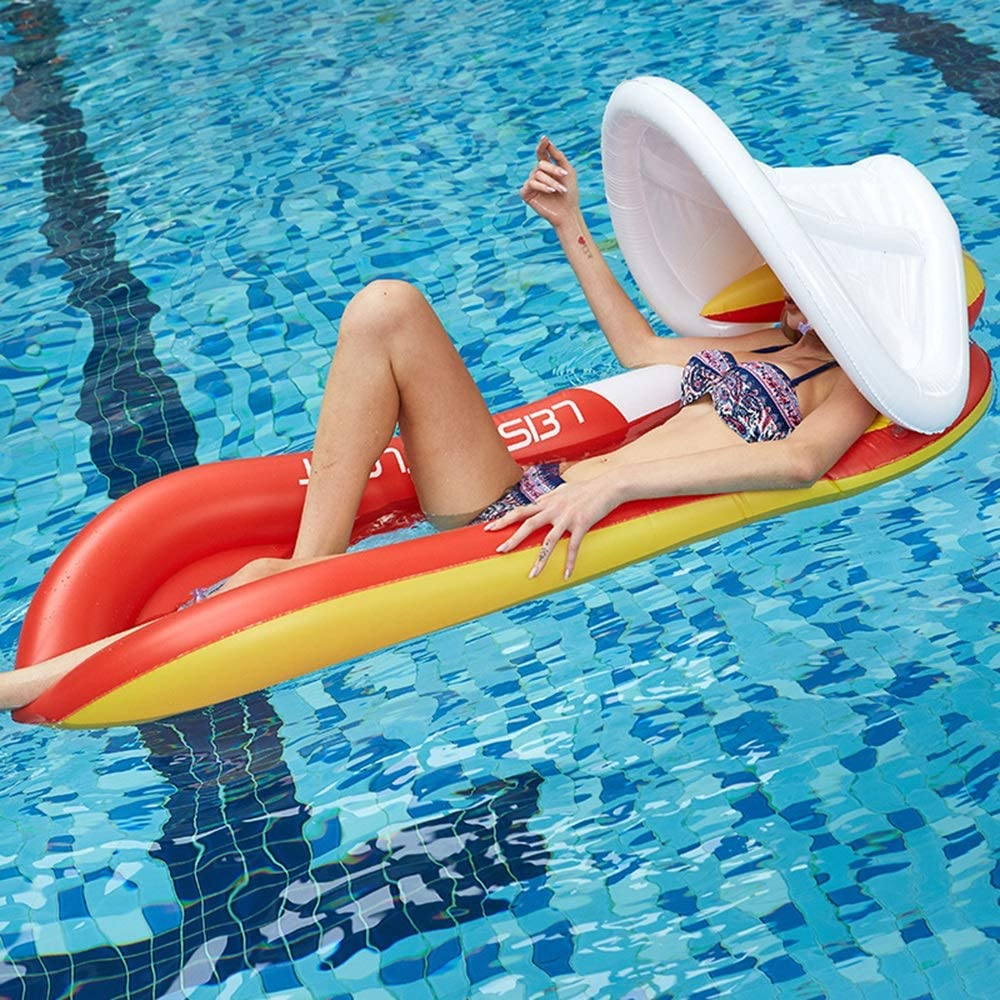 Zhengtufuzhuang Summer Home Pool Water-Side Inflatable Toys, Seaside Surf Floating Bed with Awning Mesh, Eco-Friendly High Balance, 160 X 84CM Wear Resistant (Color : Red)