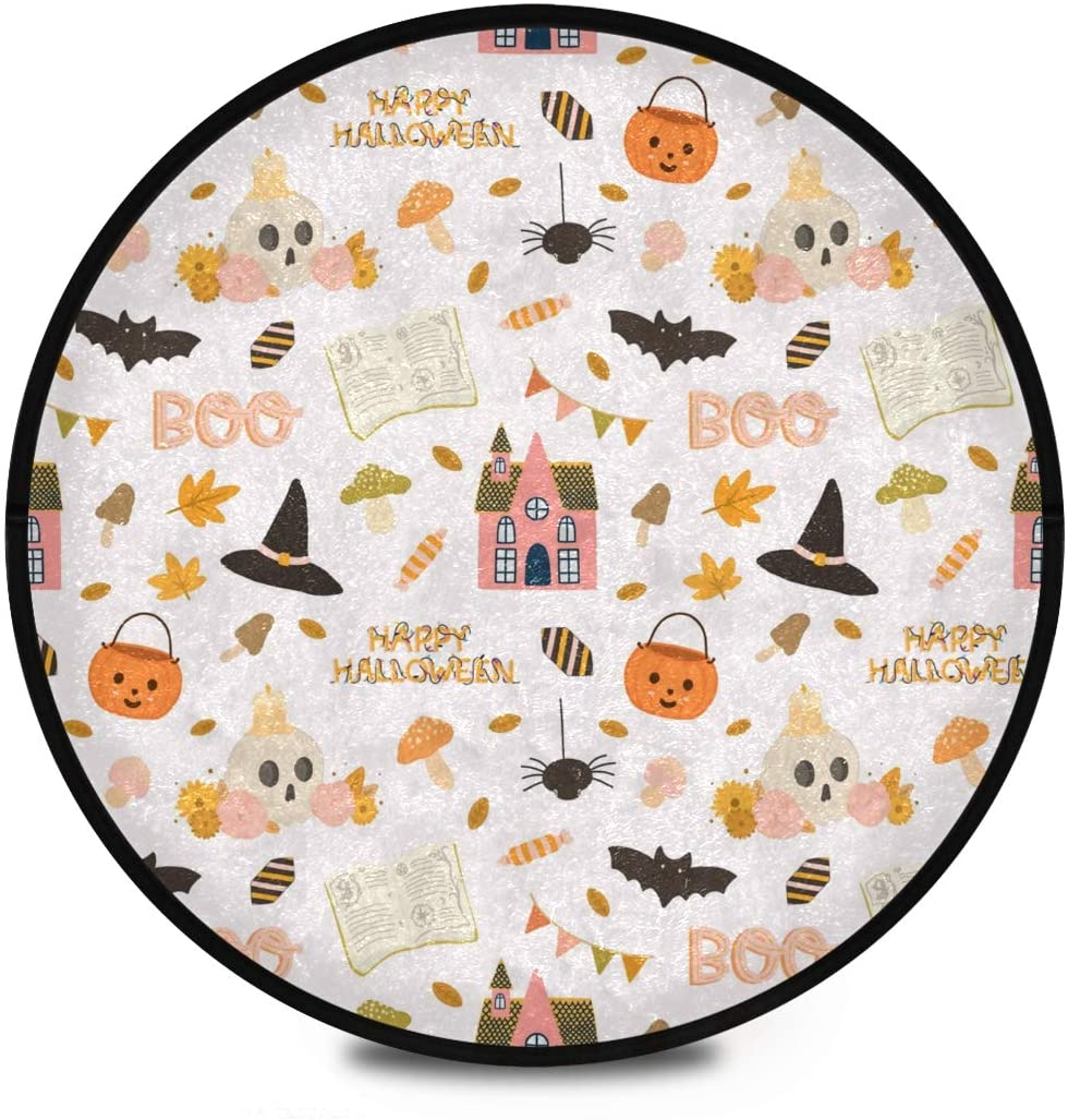 Halloween Shaggy Round Mat Halloween Pumpkins Jack Lantern Small Round Rug for Kids Children Playroom Anti-Slip Rug Room Carpets Play Mat