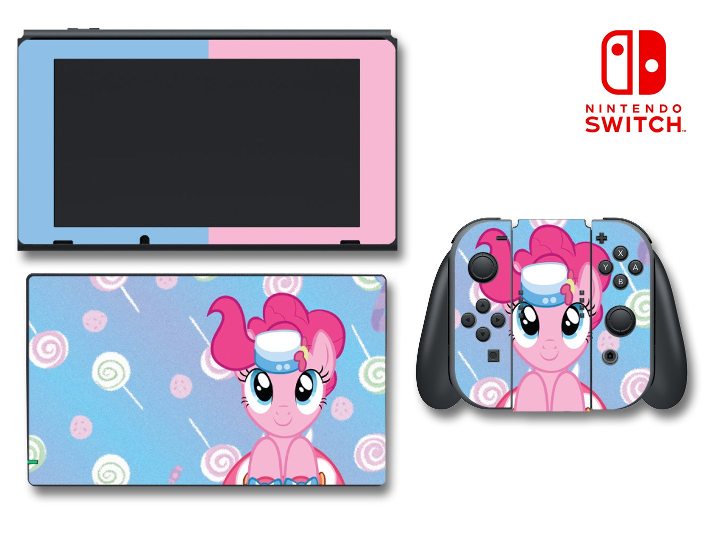 My Little Pony MLP Pinkie Pie Lollipop Video Game Vinyl Decal Skin Sticker Cover for Nintendo Switch Console System