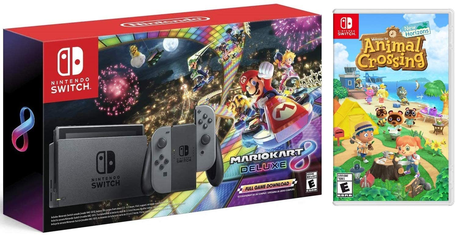 Nintendo Switch HAC 001 with Gray Joy-Con + Mario Kart 8 Deluxe (Full Game Download) & Animal Crossing: New Horizons (Disc) Game Bundle