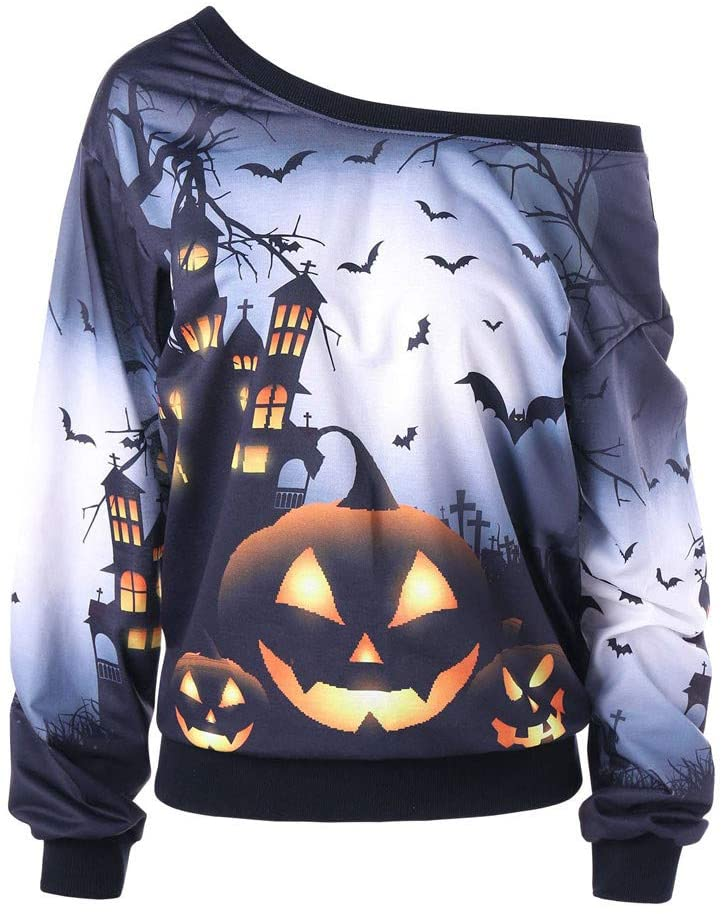 Women's Sweatshirts Halloween Off Shoulder Pumpkin Bat Pullover Sweatshirts Blouses Tops Party Costume