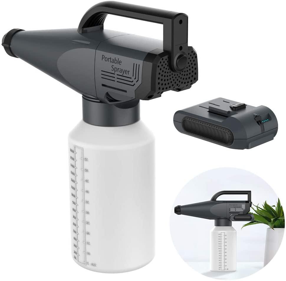 HNBMC Portable Cordless Automatic Mist Sprayer, Rechargeable Electrostatic ULV Fogger, Battery Powered HVLP Electric Spray Gun