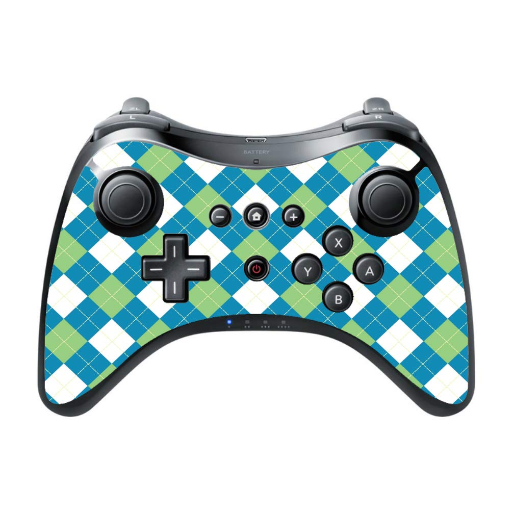 Blue Green And White Argyle Pattern Vinyl Decal Sticker Skin by egeek amz for Wii U Pro Controller