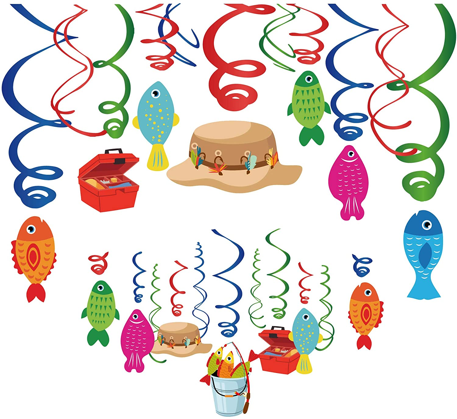 30Ct Gone Fishing Hanging Swirl Decorations, Fishing Party Supplies,O-Fish-Ally Party Supplies, Little Fisherman Birthday Theme, The Big One for Girls,Boys,Kids,Home,Classroom,Baby Shower