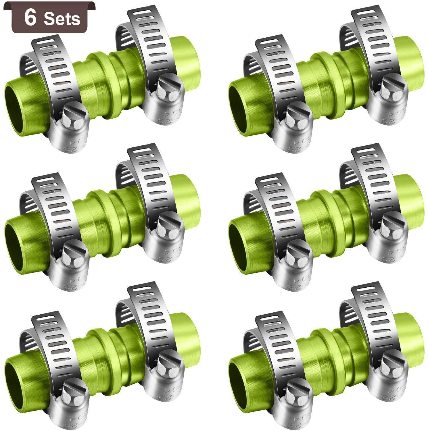 6 Sets 5/8 Inch Garden Hose Connector Hose Repair Kit Aluminium Water Hose Mender with 12 Pieces Stainless Steel Clamps for Hose End Repair Fittings