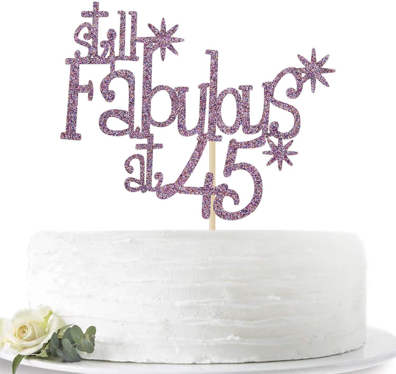 Purple Glitter Still Fabulous at 45 Cake Topper - Happy 45th Birthday Cake Decor - 45th Birthday/Anniversary Party Decoration