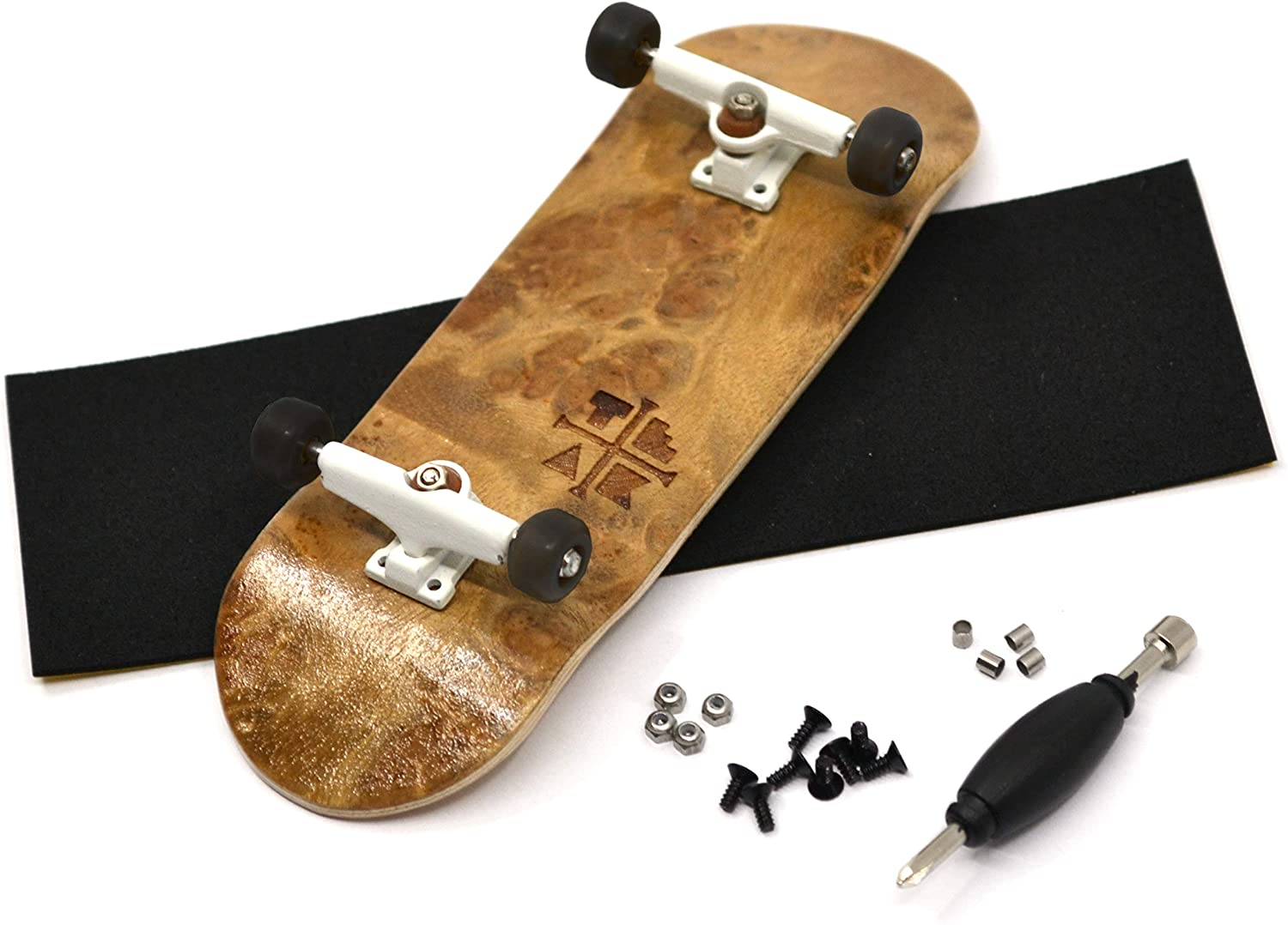 Teak Tuning Prolific Complete Fingerboard with Upgraded Components - Pro Board Shape and Size, Bearing Wheels,Trucks, and Locknuts - 32mm x 97mm Handmade Wooden Board - Toasted SMores Burl Edition