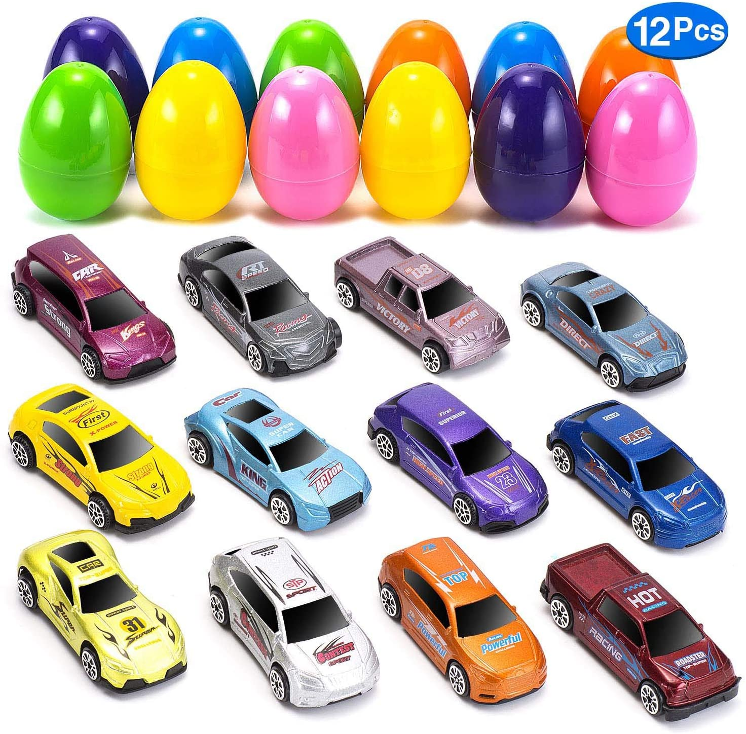 MONILON 12 Prefilled Easter Eggs with 12 Alloy Race Cars for Kids, Easter Eggs Hunt, Birthdays and Parties