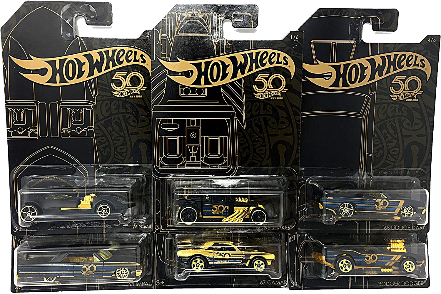 Hot Wheels New 1:64 50th Anniversary Black & Gold Collection - '67 Camaro, Bone Shaker, Twin Mill, Rodger Dodger, Dodge Dart, 64 Impala & Set of 6pcs Diecast Model Car by Hotwheels