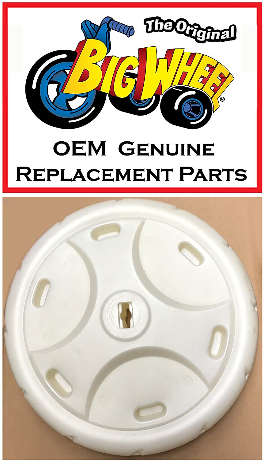 16in WHITE FRONT WHEEL for The Original Big Wheel Racer/Mighty Wheels, Original Replacement Parts