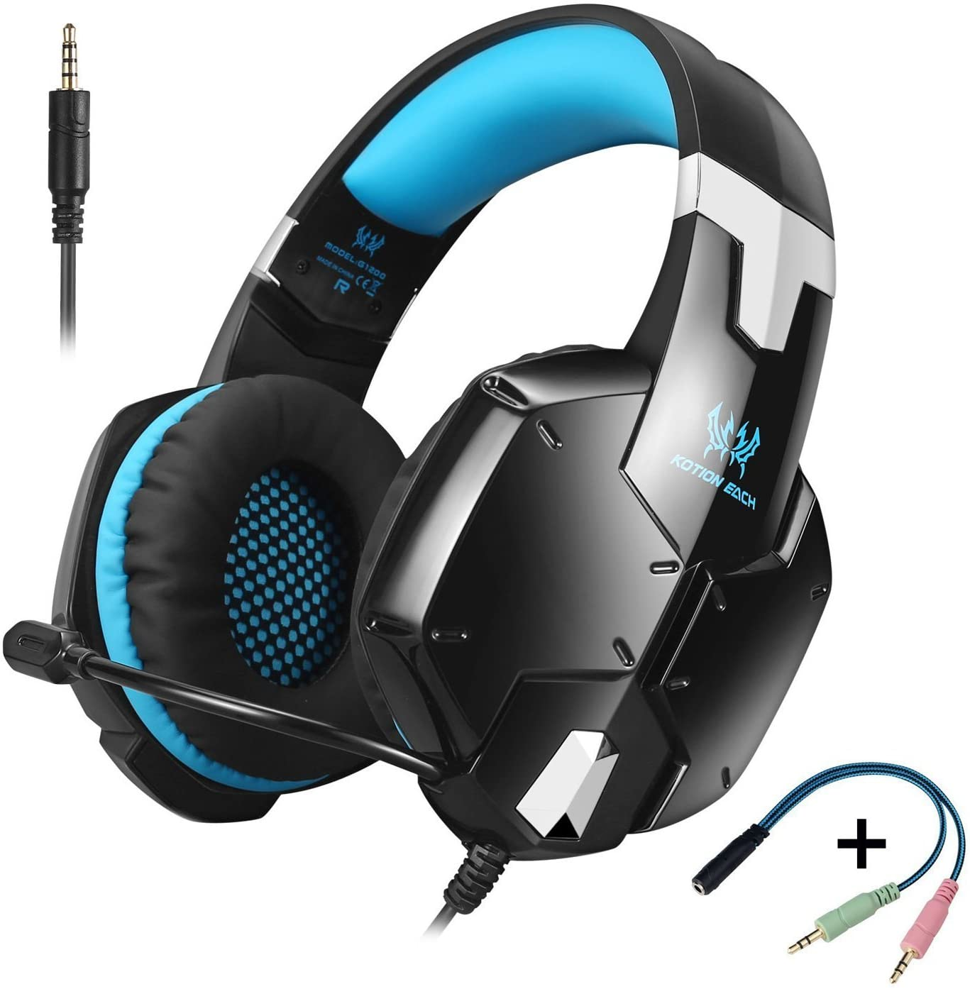 Meiertop Gaming Headset for PS4 New Xbox One Professional 3.5mm PC Game Bass Headphones Stereo Noise Isolation Over-ear Headset with Mic Microphone for PS4 Laptop Computer and Smart Phone(Blue)