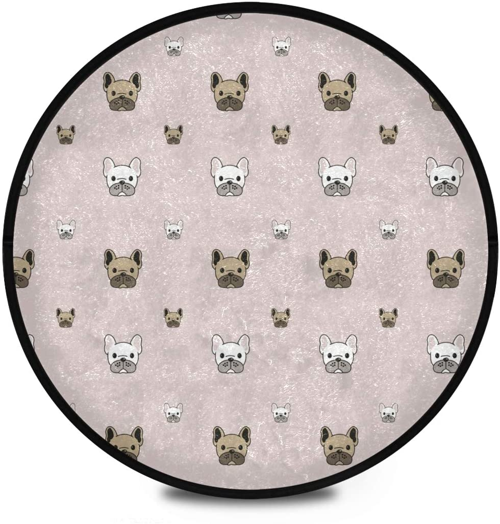 Shaggy Round Mat Cute Dog Round Area Rug for Kids Bathroom Anti-Slip Rug Room Carpets Play Mat