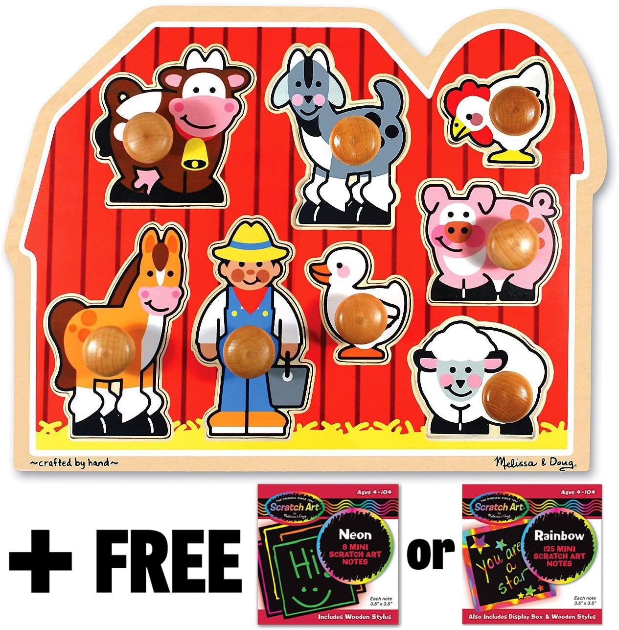 Melissa & Doug Farm 'Jumbo Knob' Puzzle & 1 Scratch Art Mini-Pad Bundle (03391)
