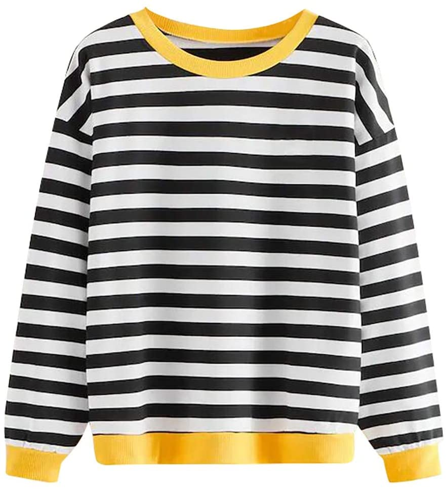 Waiimak Womens Stripe Long Sleeve Casual Loose Top T-Shirt Sweatshirt Pullover Tee Crop Top Tunic Blouse(Black,S)