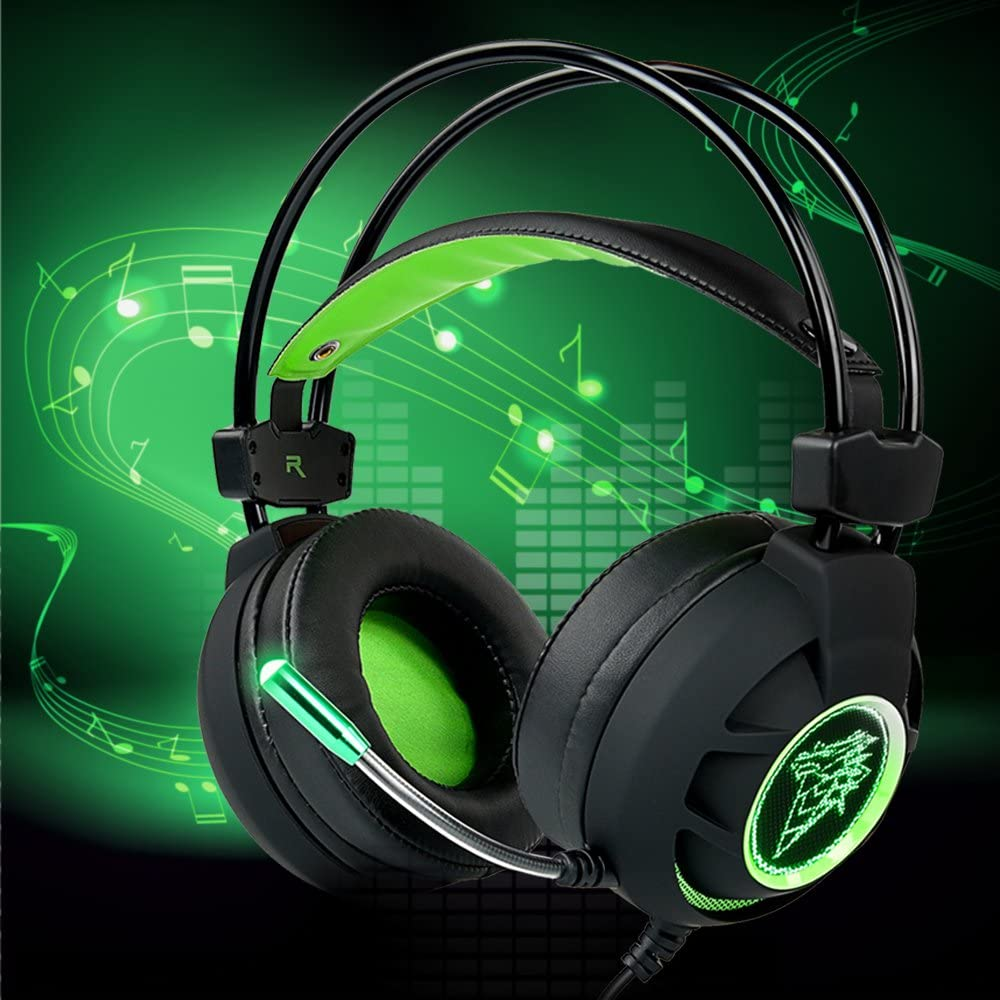 Gaming Headset Segawoot 7.1 Channel Virtual USB Surround Noise Isolation Stereo Over-Ear Gaming Headphones with Microphone, Volume Control and LED Light