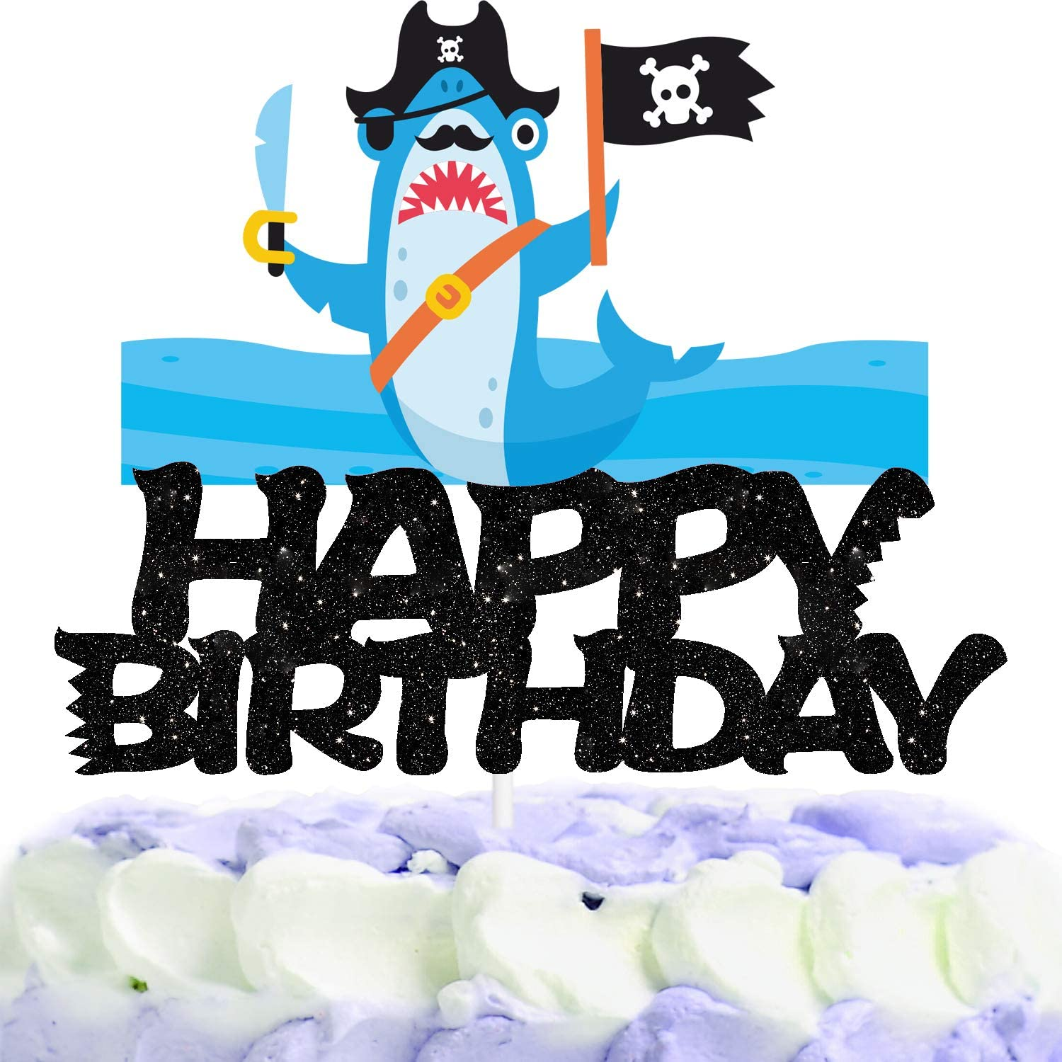 Pirate Shark Happy Birthday Cake Topper Decorations with Adventure for Birthday Theme Baby Shower Party Decor Supplies