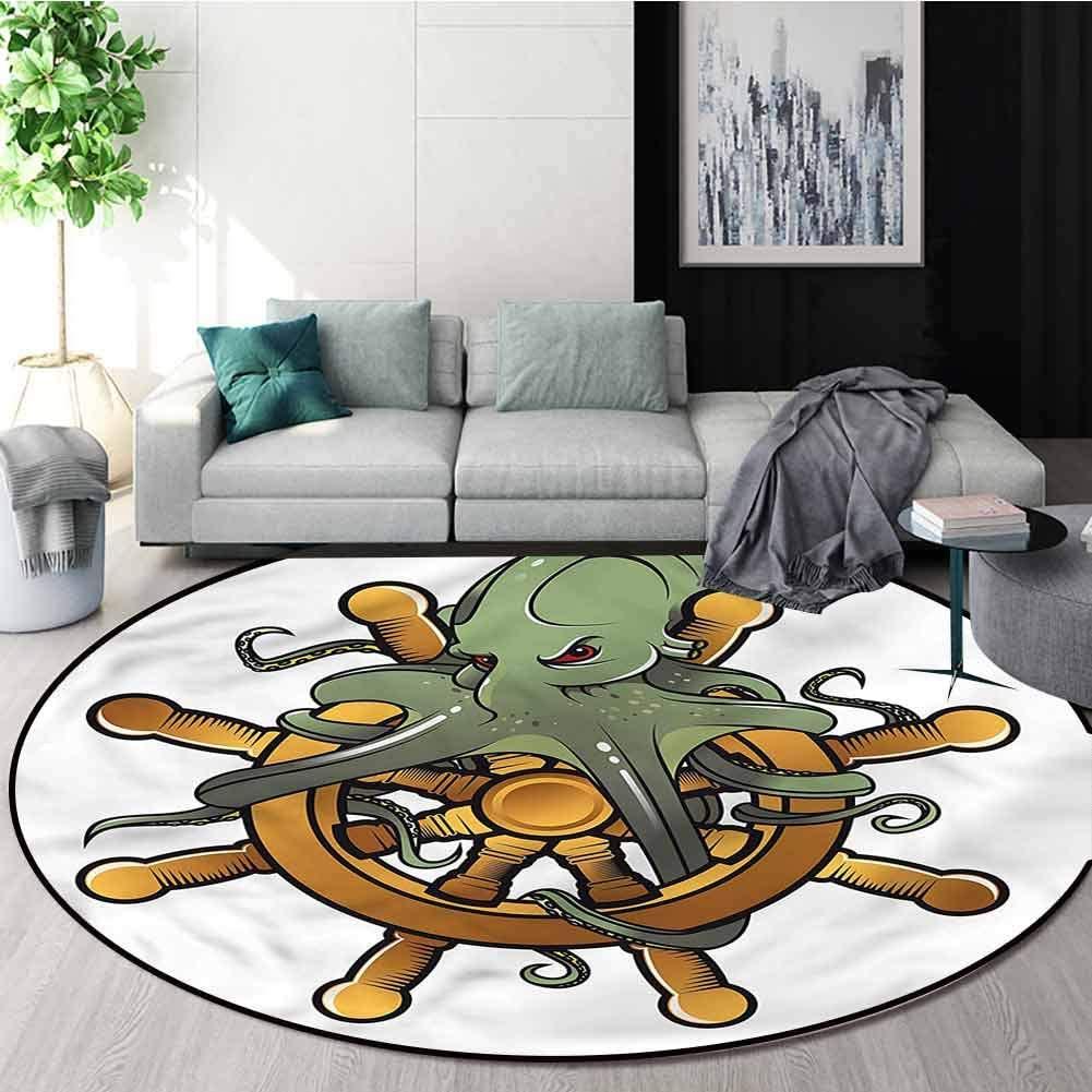 RUGSMAT Ships Wheel Machine Washable Round Bath Mat,Octopus Old Tattoo Art Home Decor Area Rug Round-51