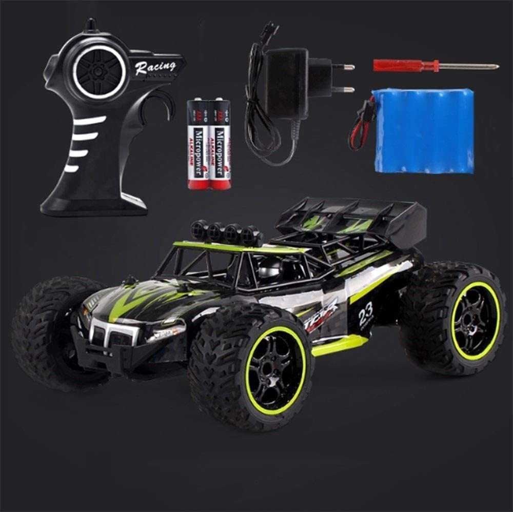 Xuess Chargeable Electric Wireless Off-Road RC Car Climbing High Speed Crashworthy Remote Control Car Simulation Interior Toy Car (Color : Green, Size : 2 Batteries)