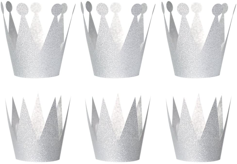 SUPVOX 6pcs Birthday Crown Hats Party Crown Hats caps Princess Prince Crowns for Birthday Wedding Celebration (Silver)
