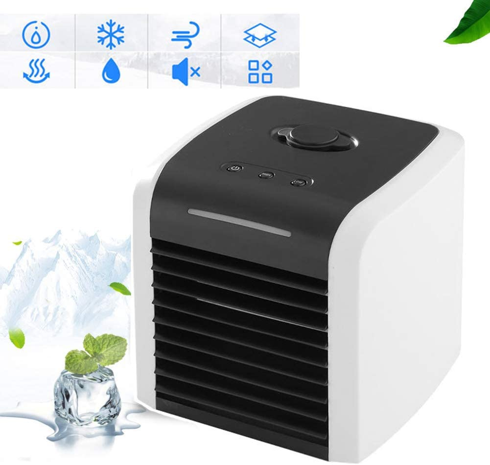 Air Cooler Air Humidifier Mute,desktop USB Portable Air Conditioner Personal for Home Office Outdoor Leak-proof Evaporative Cooler White 7x7inch