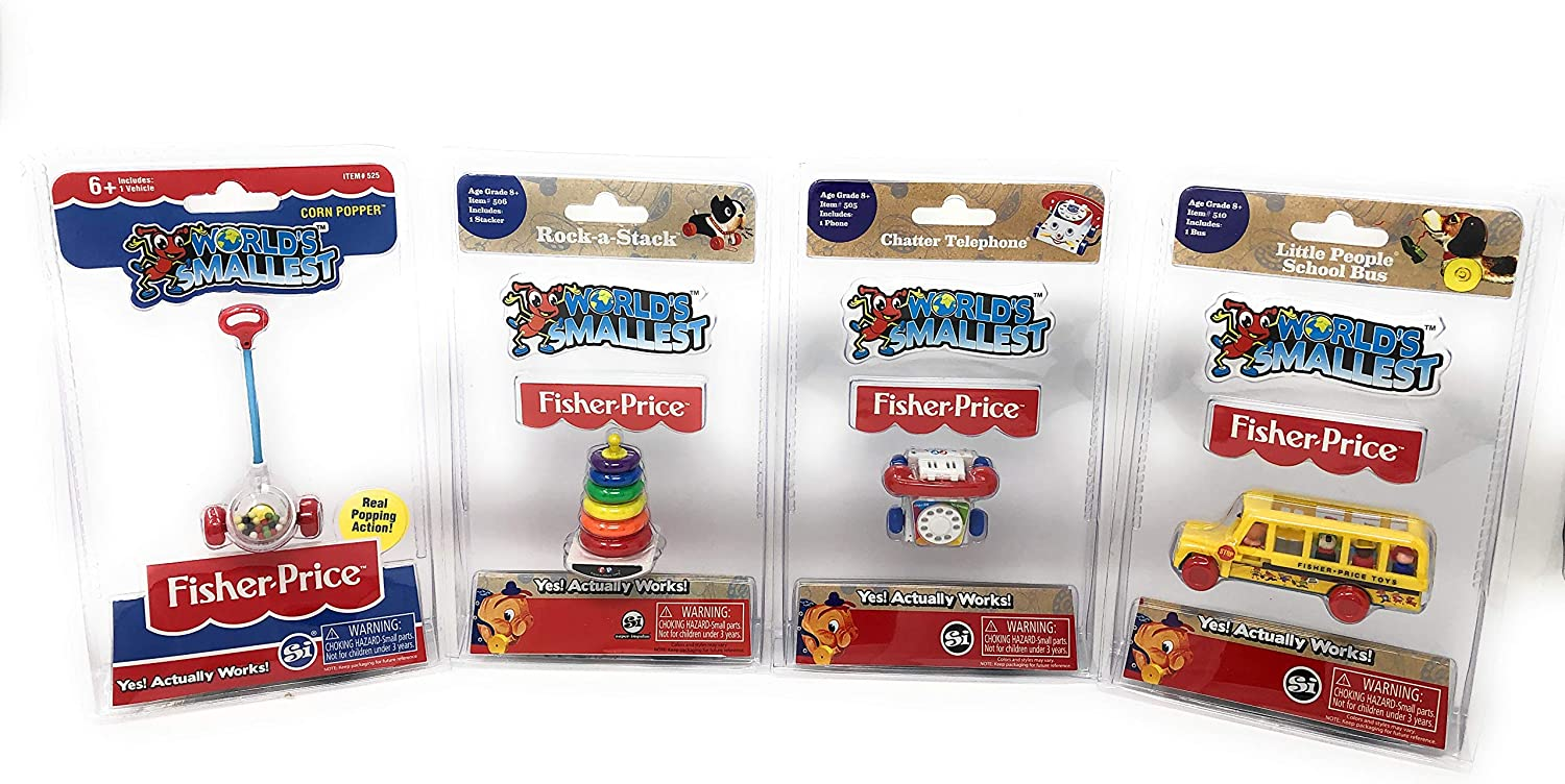 World's Smallest Fisher-Price Gift Bundle Set of 4 Corn Popper - Rock-a-Stack - Little People School Bus - Chatter Telephone