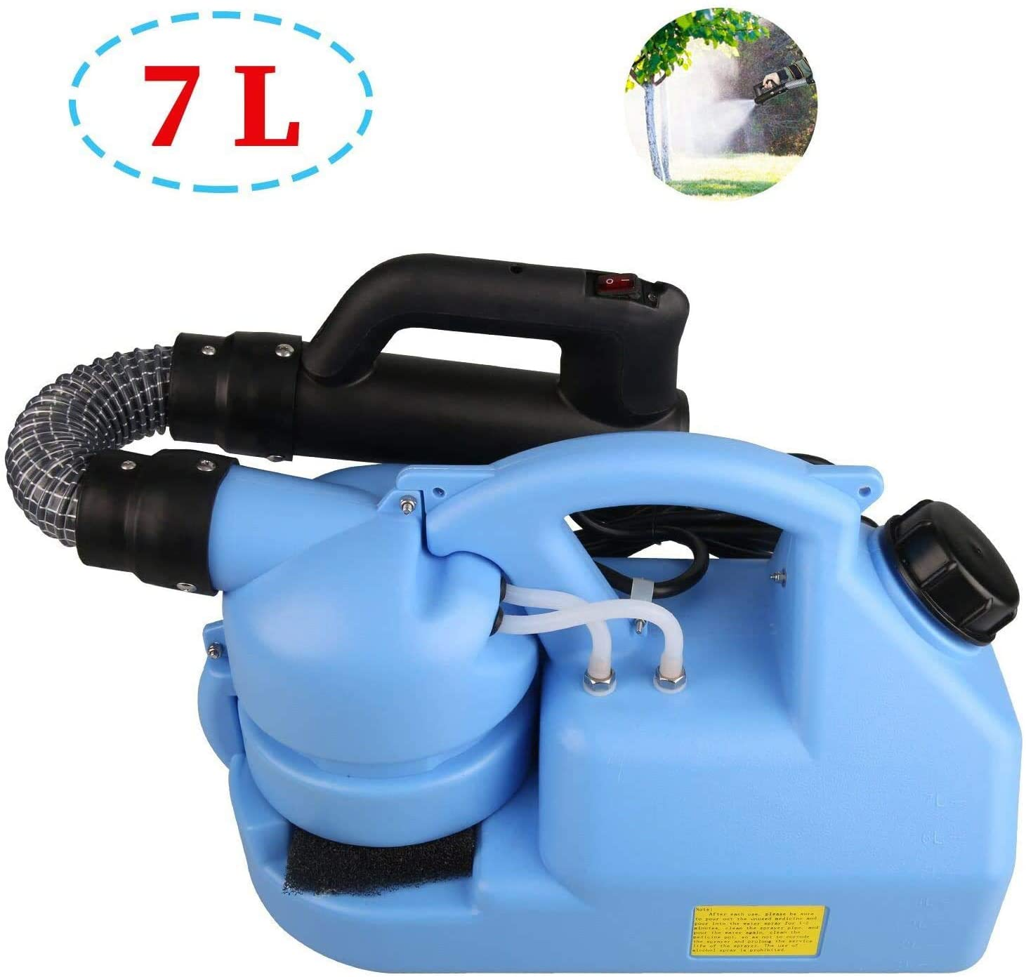 Portable Electric ULV Fogger Back Pressure Sprayer 1000W Disinfection Sprayer 7L Humidification/Disinfection/Insecticide/Atomization for Farm Office and Industrial
