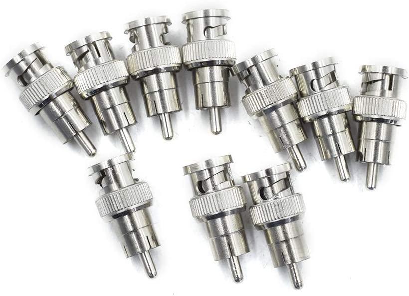 Hxchen BNC Male to RCA Male Plug Adapters - (10 Pcs)