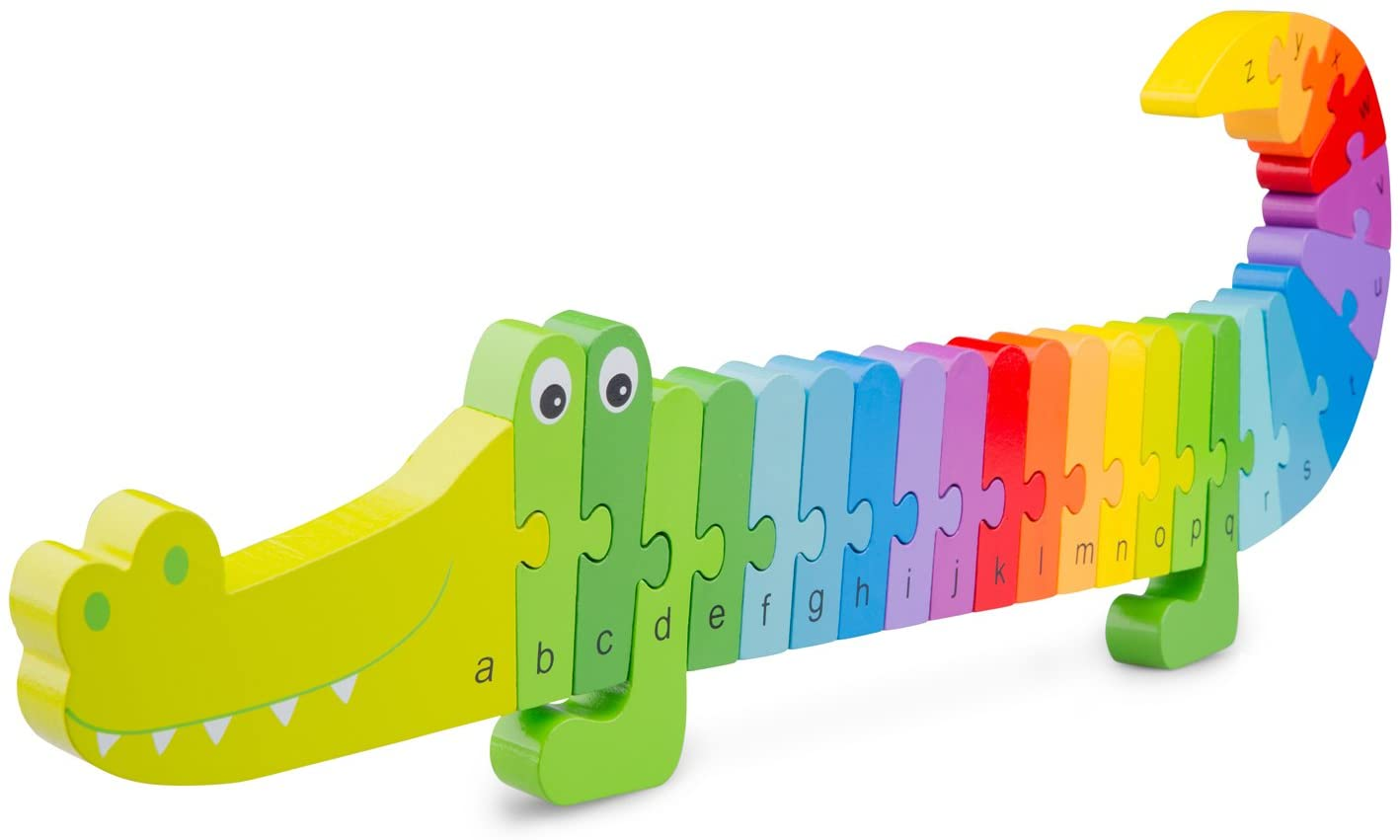 New Classic Toys Alphabet Puzzle Crocodile Educational Wooden Toys for 3 Year Old Boy and Girl Toddlers Learn The Alphabet