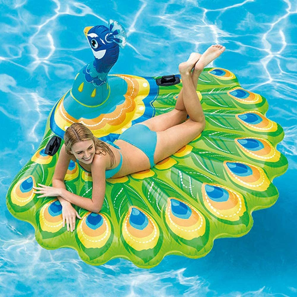 YiCan Green Peacock Floating Row, Summer New Adult Water Sofa, Swimming Ring, Recliner, Inflatable Water Toy, Outer Diameter 19516595cm