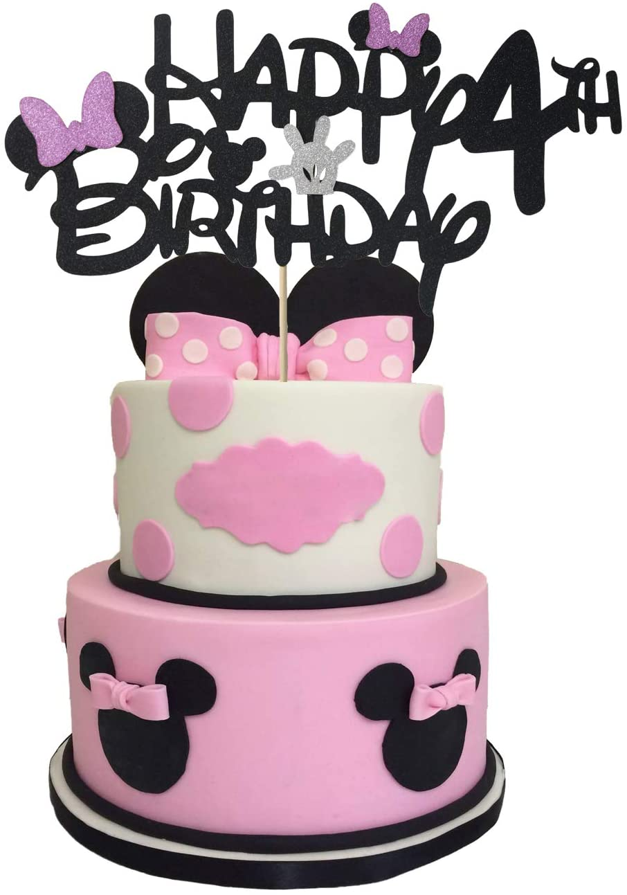 Glitter Minnie Inspired Happy Birthday 4th Cake Topper, Minnie Cake Topper 4 Year Old with Pink Bow Tie for Minnie Themed Baby Girls Kids fourth Birthday Party Cake Supplies Decoration (Double-sided)