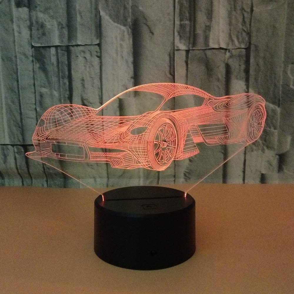 Led8N 3D LED Optical Illusion Lamps Night Light,7 Colour Changing LED Bedside Lamps for Kids with Acrylic Flat,ABS Plastic Base,USB Charger Sports Car