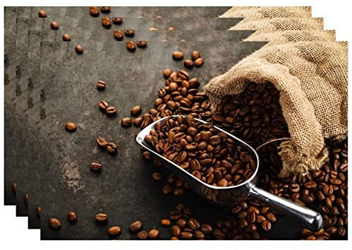 Dainty Home Heat Solid Foam Coffee Bean Waterproof, Stain Resistant, Washable Place Mats Set of 4, 13 inch x 19 inch Rectangle, Printed Kitchen Design