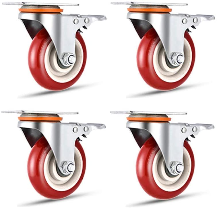 Casters,4 Pieces Heavy Polyurethane Furniture Wheel,Castor Wheels,Flatbed Truck Trolley Industry Directional Wheel,Replace Accessories with Brake Universal Wheel Galvanized Bracket/C