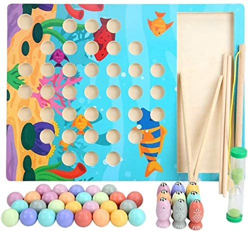 Wood 3 in 1 Beaded Fishing Toy Set Wooden Fishing Game Toy Kit Educational Toy- Colorful