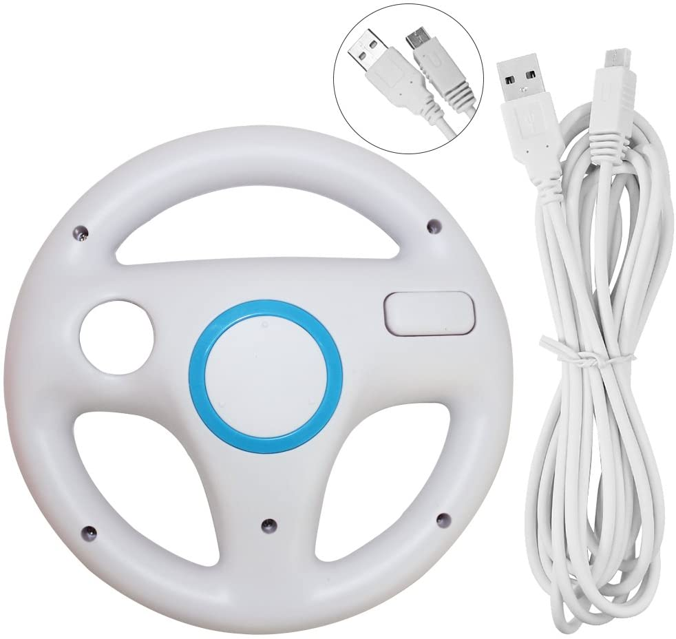 AFUNTA Steering Wheel & Charging Cable Compatible Wii U/Wii, Racing Wheel Case Compatible Mario Kart 8 Games,with 10ft USB Charger Cord - White