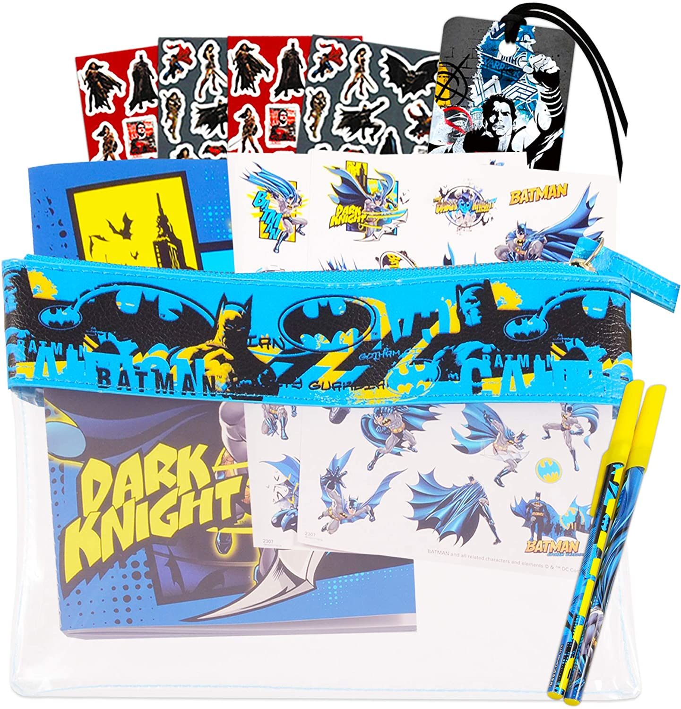 DC Comics Batman Journal Pen Office Supplies Set ~ Batman Notebook with Batman Pens, Bookmark, and Stickers with Carrying Case (Batman Gifts, School Supplies Bundle)