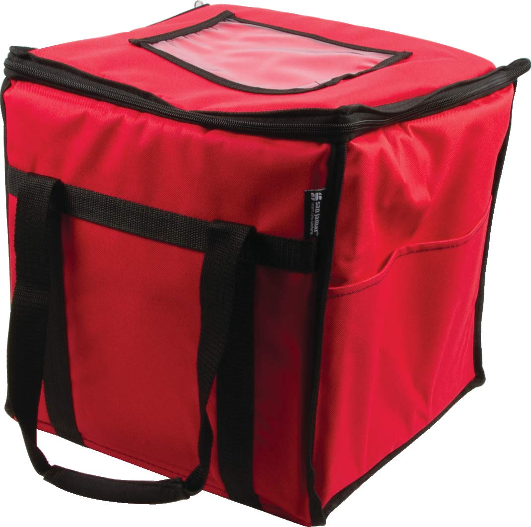 """San Jamar FC1212-RD San Jamar FC1212-RD Insulated Pizza Delivery Bag, 12"""" x 12"""" x 12"""", Nylon, Red"""
