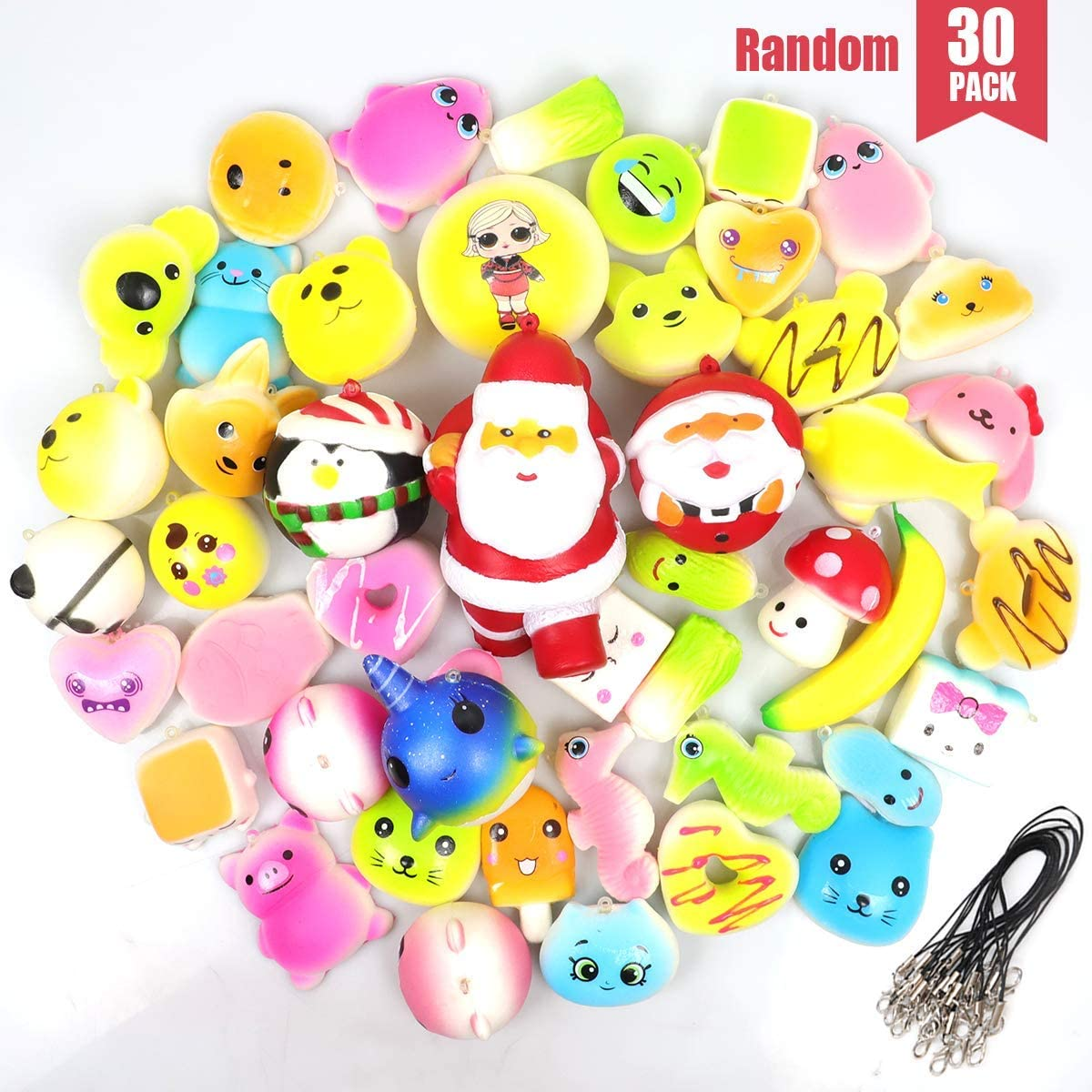 POKONBOY 30pcs Jumbo Squishies, Cream Scented Food/Animals/Donut Squishy Toys Soft Slow Rising Stress Relief Toys Backpack Keychains Birthday Gift Party Favors for Kids (Random)