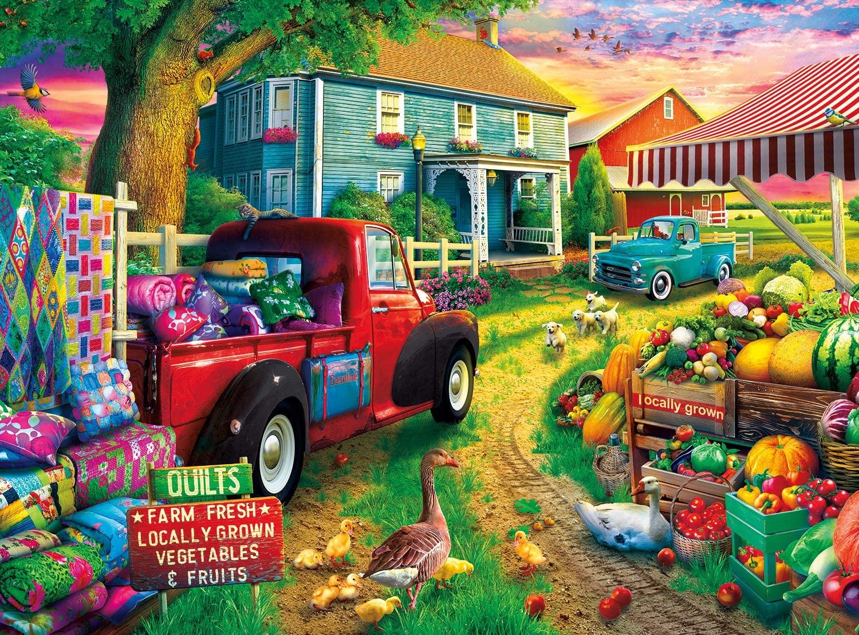 Buffalo Games - Quilt Farm - 1000 Piece Jigsaw Puzzle, Multicolor, 26.75