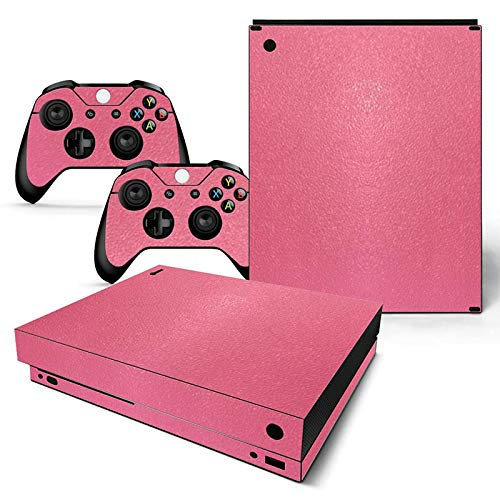 Mcbazel Leather Pattern Series Vinyl Decal Protective Skin Cover Sticker for Xbox One X Console & Controller (NOT Xbox One / Xbox One Elite / Xbox One S) - Pink