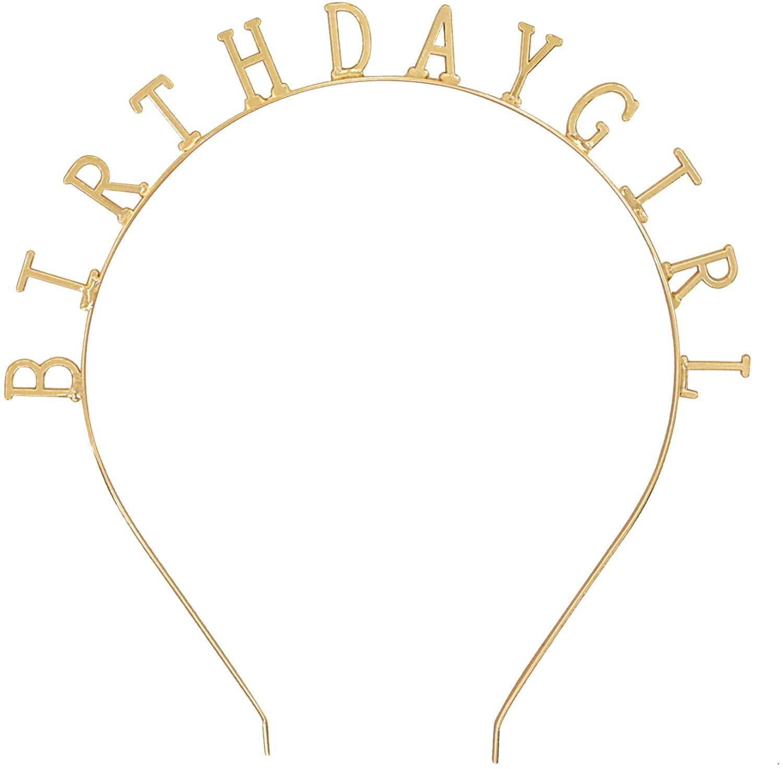 Bocianelli 2020 Gold Birthday Girl Party Headband Tiara Crown Headpiece Hair Accessories, Gold Metal, New