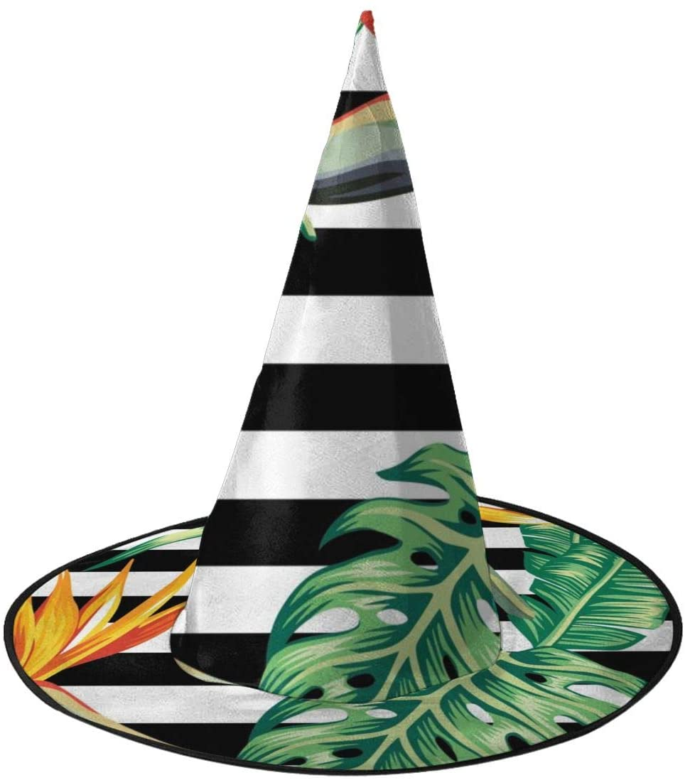 Halloween Witch Hat,Palm Banana Leaf Black And White Stripes Witches Hat for Women Halloween Party Cosplay Decoration