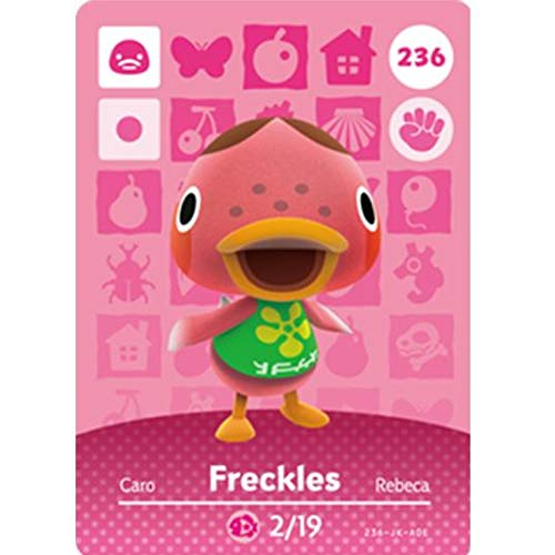 BestTom No.236 Freckles ACNH Animal Villager Card Fan Made.Third Party NFC Card Bank Card Size Water Resistant for Switch/Switch Lite/Wii U