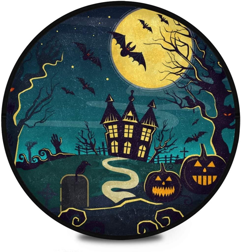 Halloween Shaggy Round Mat Halloween Full Moon Pumpkins Haunted House Small Round Rug for Kids Bedroom Anti-Slip Rug Room Carpets Play Mat