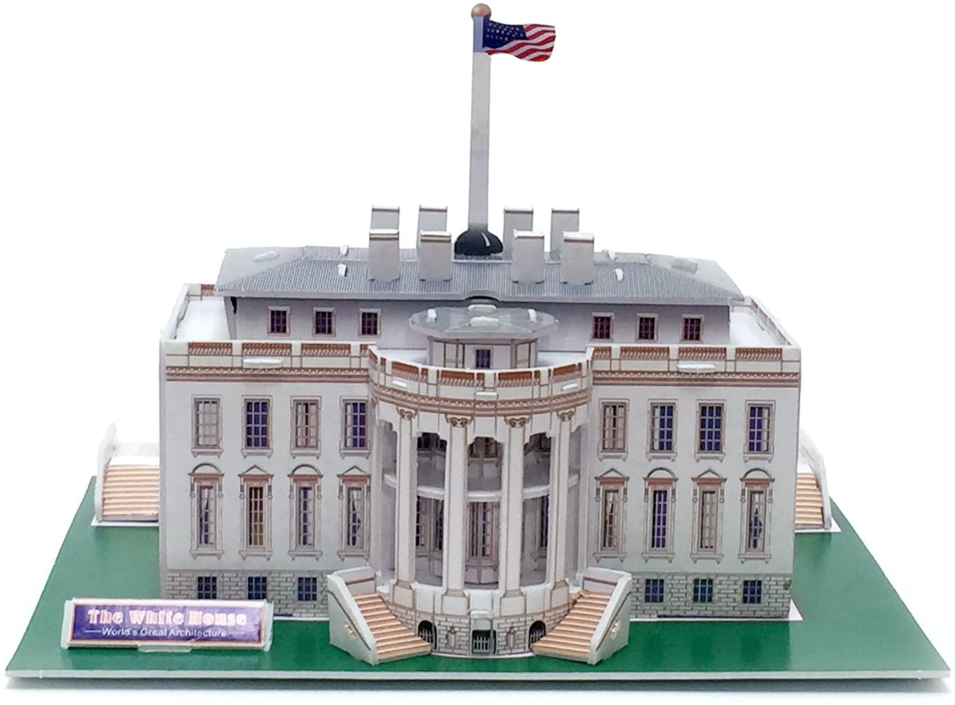 Runsong Creative 3D Puzzle Paper Model White House DIY Fun & Educational Toys World Great Architecture Series, 40 Pcs