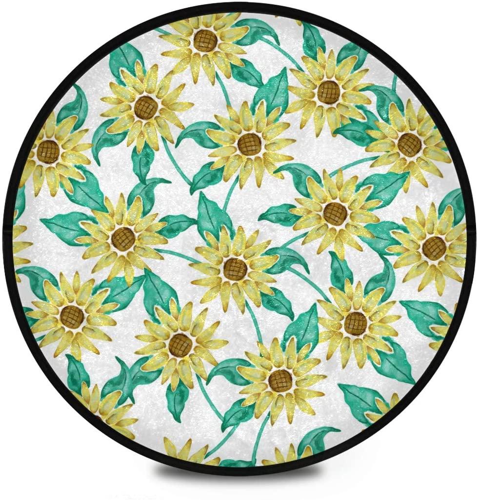 Shaggy Round Mat Sunflowers for Kids Living Room Anti-Slip Rug Room Carpets Play Mat