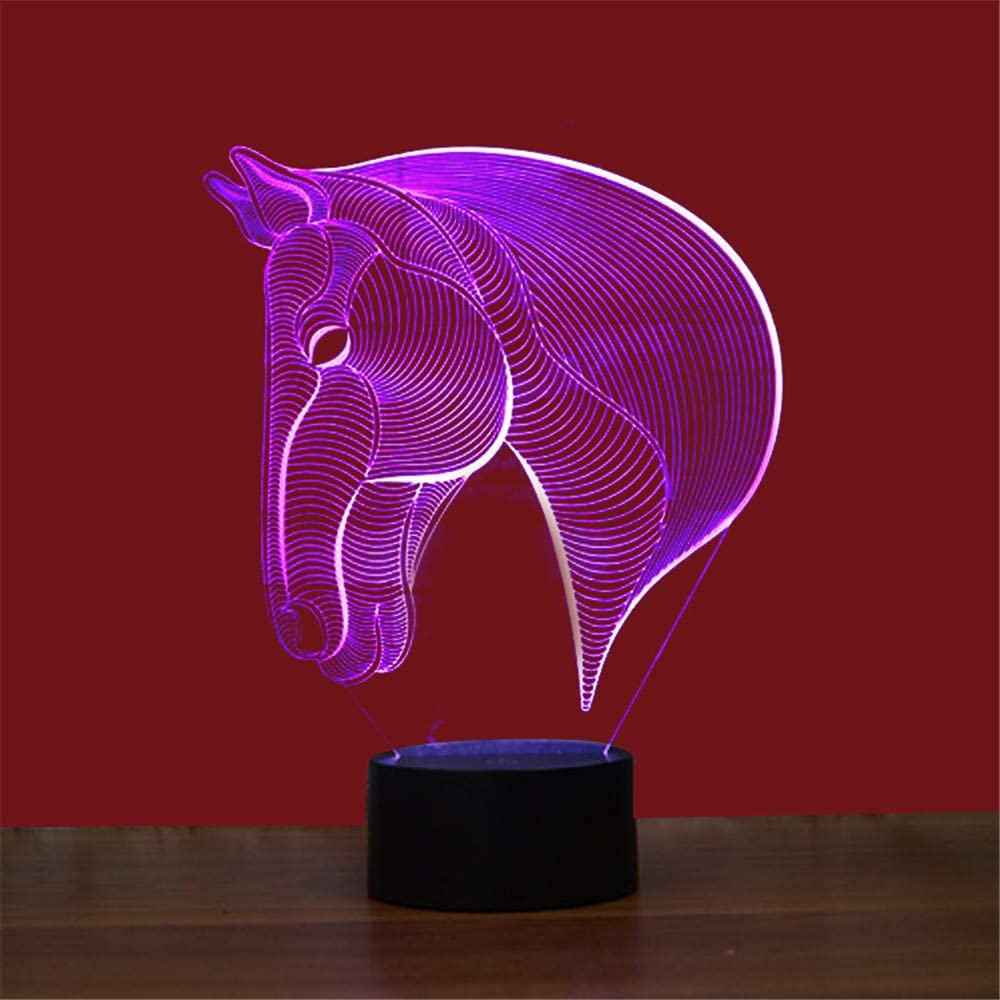 Led8N 3D LED Optical Illusion Lamps Night Light,7 Colour Changing LED Bedside Lamps for Kids with Acrylic Flat,ABS Plastic Base,USB Charger Horse Head